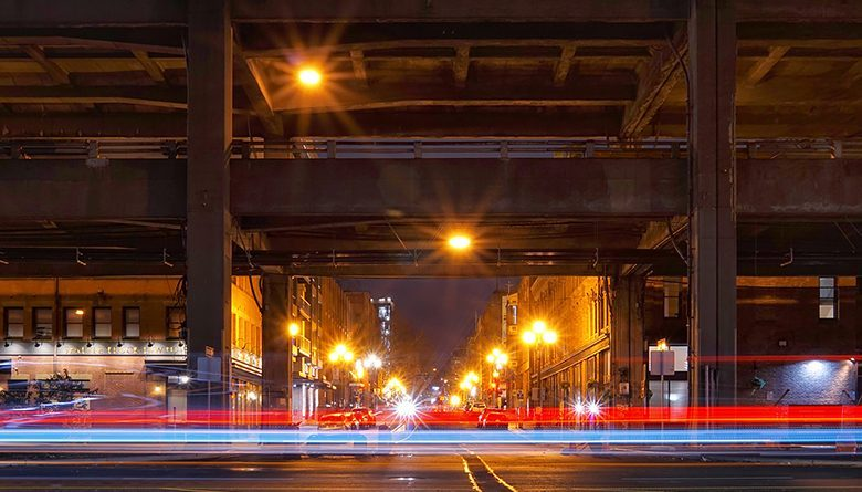 A night view of Seattle's Alaskan Way Viaduct, which is being replaced by the SR 99 Tunnel.