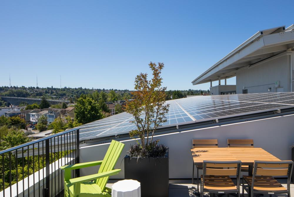 The building features 244 solar panels, triple-pane windows, high-efficiency plumbing to reduce water waste